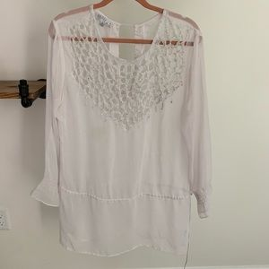 Solitaire Embellished Beaded White Swim Cover-Up